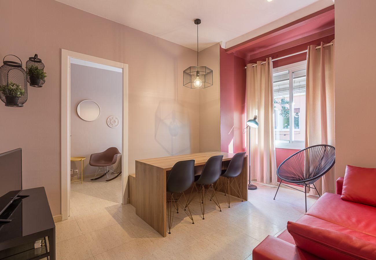 Living room in the apartment Plaza España center Barcelona